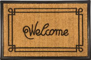 Welcome with Border Recycled Rubber & Coir Door Mats