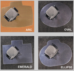 Designer Desk Chair Mats - Ellipse, Arc, Oval, Emerald