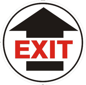 """Exit"" With Arrow Floor Decals"