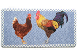 Kitchen Anti-Fatigue Mats: Two Roosters Blue Mat