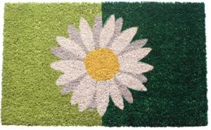 One Daisy On Green Non Slip Coir Doormat