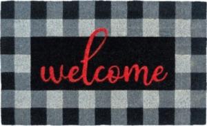 Buffalo Plaid Welcome Coir Doormat