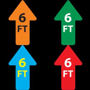 """Directional Arrows """"6FT"""" Social Distancing Floor Decals"""