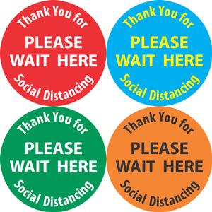 """""""Please Wait Here"""" Social Distancing Floor Decals"""