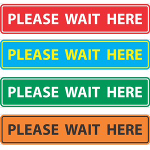 """Queue Marker """"Please Wait Here"""" Social Distancing Floor Decals"""